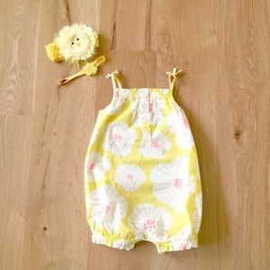 Bright Cheery Yellow Bloomer Outfit w/Headbands🌼